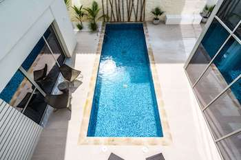 overhead view of pool in district one villa
