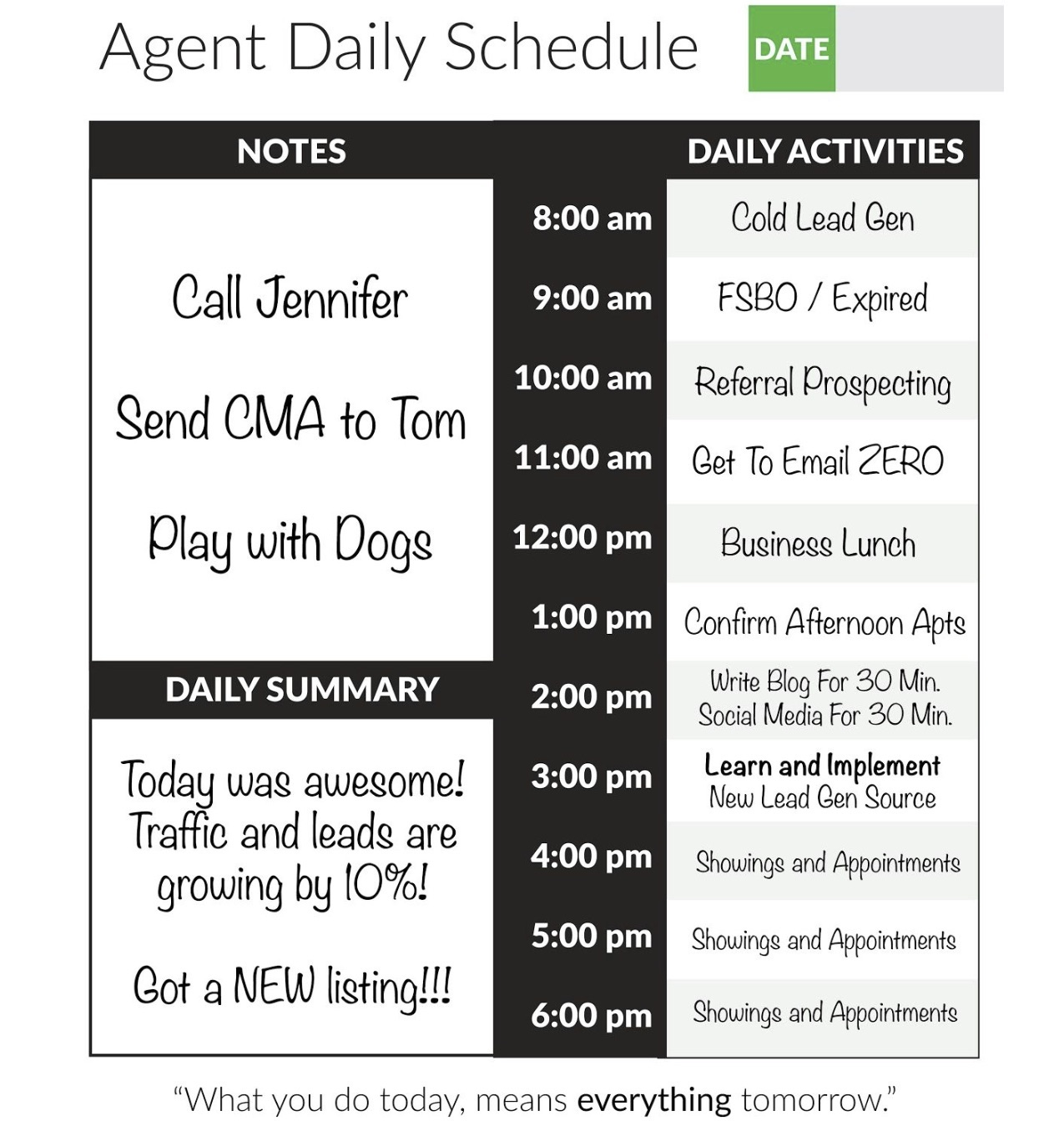 Real estate daily planner
